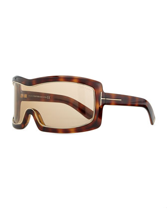 Olga Injected Goggle Sunglasses, Havana