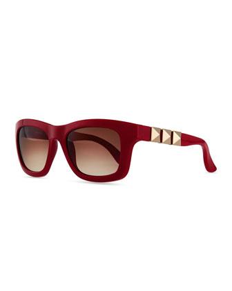 Rockstud Iconic Square Plastic Sunglasses, Scarlet