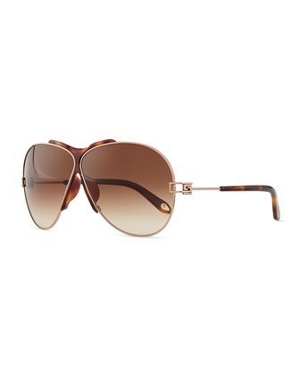Metal Aviator Sunglasses, Havana