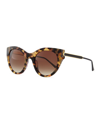 Joyridy Acetate Cat-Eye Sunglasses with Metal Arms, Tortoise