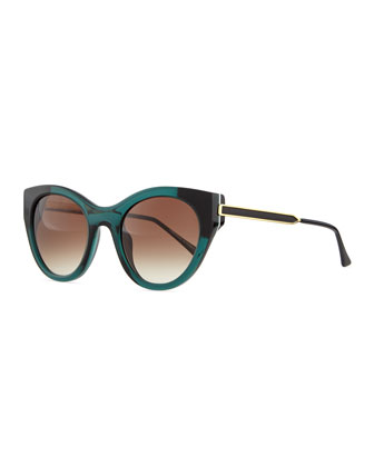 Joyridy Acetate Cat-Eye Sunglasses with Metal Arms, Dark Green