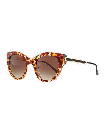 Joyridy Acetate Cat-Eye Sunglasses with Metal Arms, Pink/Orange