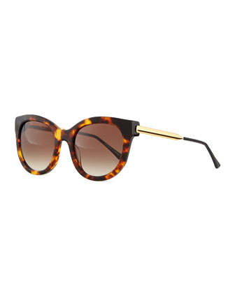 Lively Acetate Sunglasses with Metal Arms, Brown Tortoise