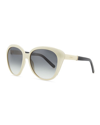 Oversized Cat-Eye Sunglasses, Cream