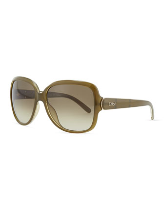 Acetate Square Sunglasses, Khaki