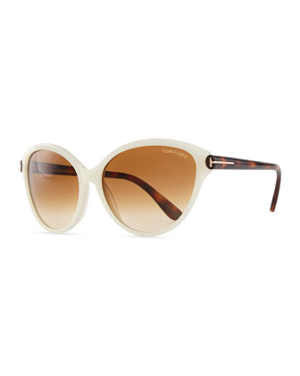 Priscila Cat-Eye Sunglasses, Ivory/Brown Havana