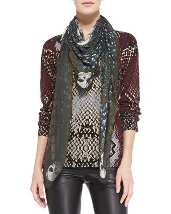 Kerry Skull-Print Modal Square Scarf