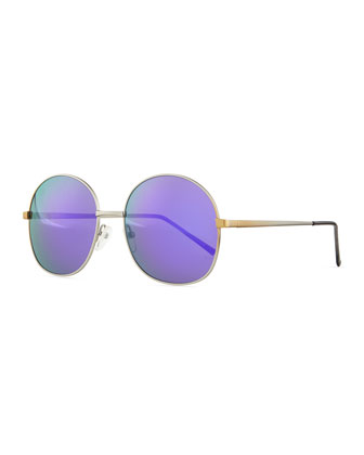 Alina Round Mirrored Sunglasses, Silver