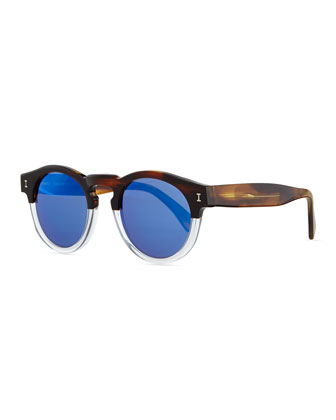 Leonard Round Half & Half Sunglasses, Brown