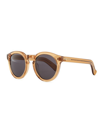 Leonard Round Sunglasses, Brown