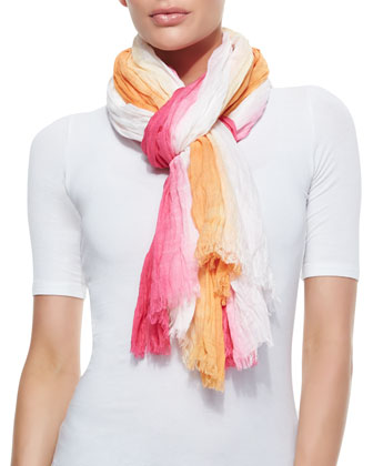 Three-Tone Ombre Wrap Scarf, Daiquiri