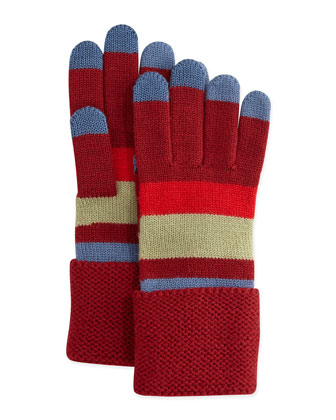 Rory Striped Knit Gloves, Red