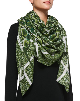 Aki Flower Scarf, Green