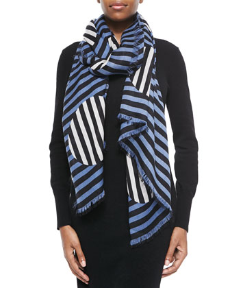 Charles Graphic Dot Scarf, Blue