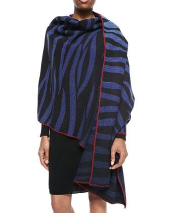 Tora Ombre Tiger-Stripe Scarf, Blue