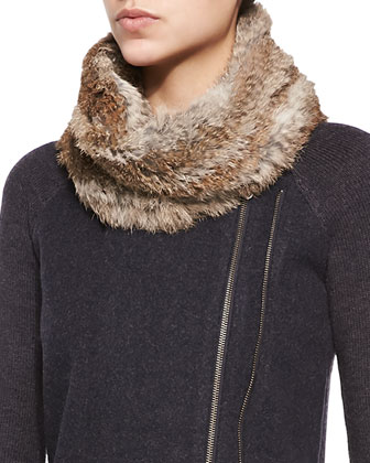 Delphia Button-Front Jacket & Lonica Rabbit-Fur Infinity Scarf