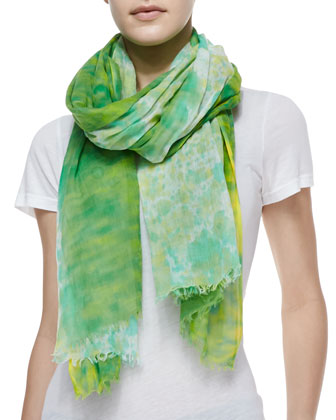 Watercolor Painted Rain Wrap Scarf, Honeydew