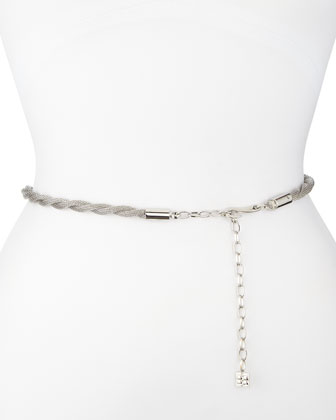 Silvertone Twisted Chain Waist Belt