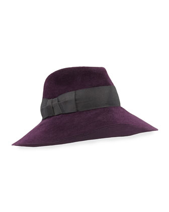Tiffany Dramatic Fedora Rabbit Felt Hat, Plum