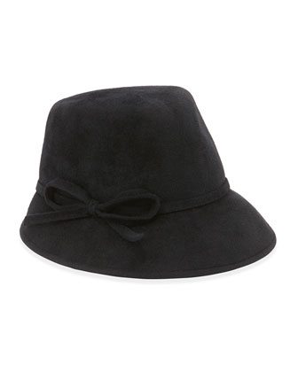 Bow Cap Fedora Rabbit Felt Hat, Black