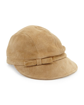 Packable Suede Equestrian Hat, Camel