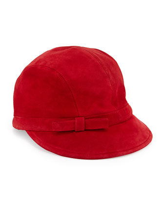 Packable Suede Equestrian Hat, Red
