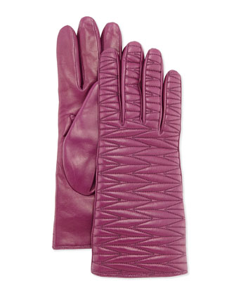 Woven-Topstitched Leather Gloves, Purple