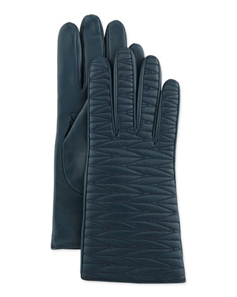 Topstitched Leather Gloves, Blue