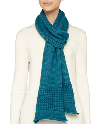 Mixed-Knit Cashmere-Blend Scarf, Teal