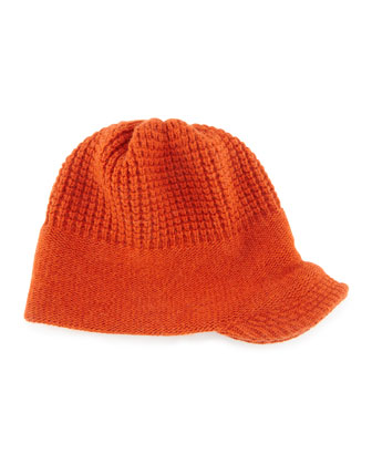 Knit Peak Hat with Visor, Rust