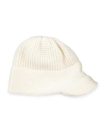 Knit Peak Hat with Visor, White
