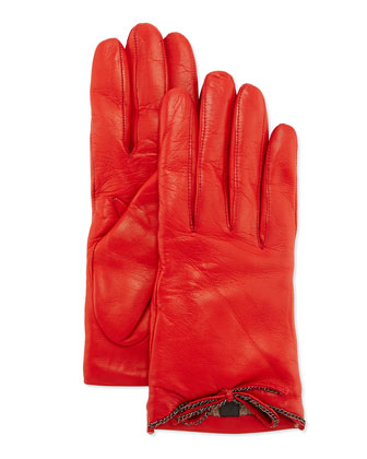Leather Driving Gloves with Chain Bow, Red