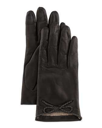 Leather Driving Gloves with Chain Bow, Black