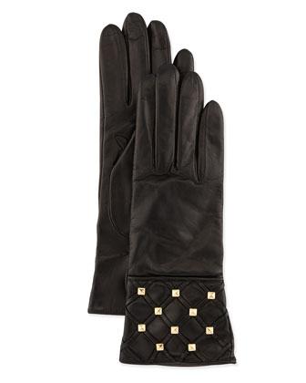 Studded Stripe-Detail Leather Gloves, Black