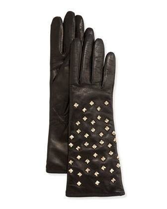Leather Pyramid Studded Gloves, Black