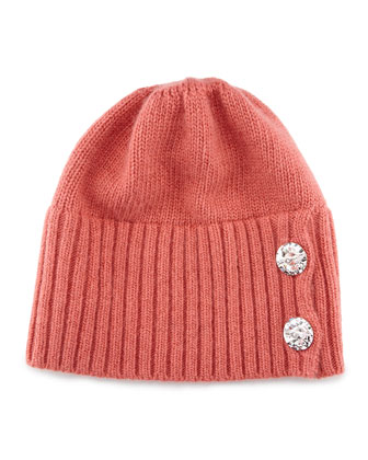 Crystal-Button Knit Hat, Prairie Rose