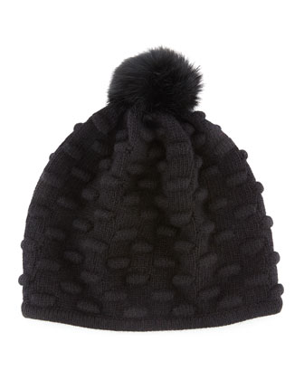 Bumpy Knit Winter Hat with Fur Pompom, Black