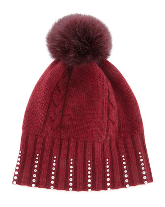 Winter Hat with Crystals & Fur Pompom, Bordeaux