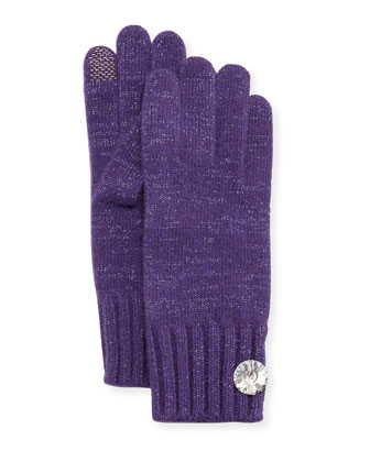 Cashmere Rhinestone-Button Tech Gloves, Purple