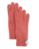 Cashmere Rhinestone-Button Tech Gloves, Prairie Rose