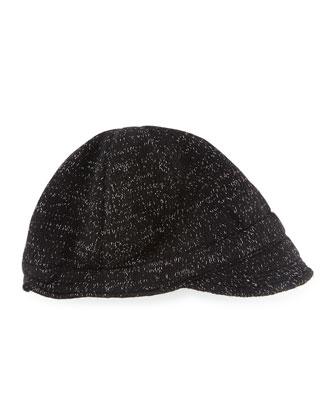Knit Peak Hat with Visor, Black