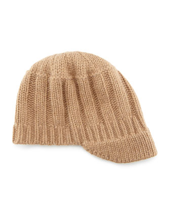 Ribbed Knit Peak Hat with Visor, Tan