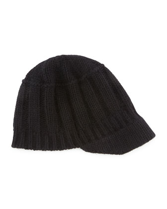 Ribbed Knit Peak Hat with Visor, Black