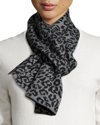 Leopard-Print Knit Scarf, Gray/Black