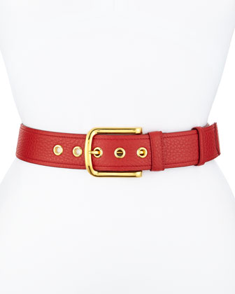 Calfskin Leather Belt, Red (Rosso)