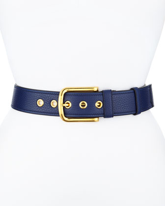 Calfskin Leather Belt, Dark Blue (Inchiostro)