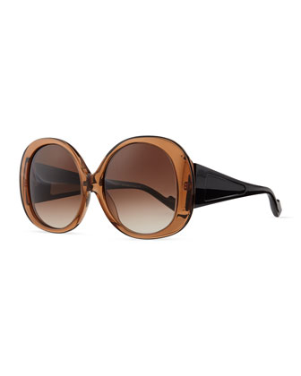 Plastic Oval Sunglasses, Brown/Black