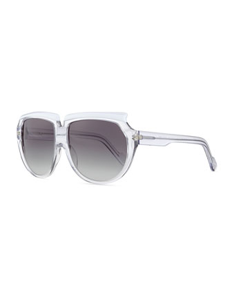 Plastic Sunglasses with Curved Brow, Clear/White
