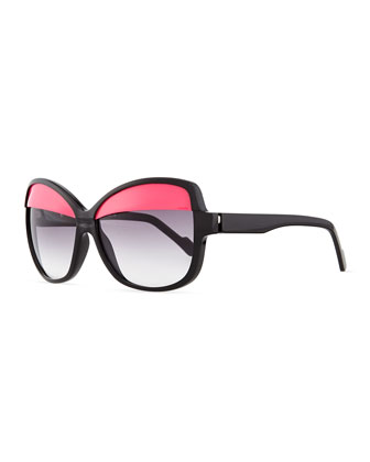Plastic Butterfly Sunglasses with Lid, Black/Pink