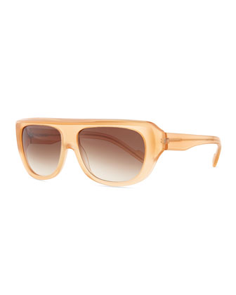 Plastic Rectangle Sunglasses with Straight Brow, Peach
